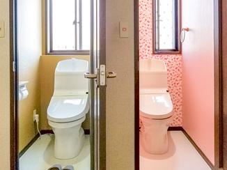 トイレリフォーム 男女別にデザインを分かりやすく変えたトイレ